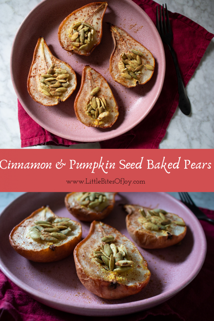 cinnamon and pumpkin seed baked pears