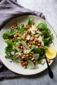 apple fennel salad with chickpeas and hazelnuts
